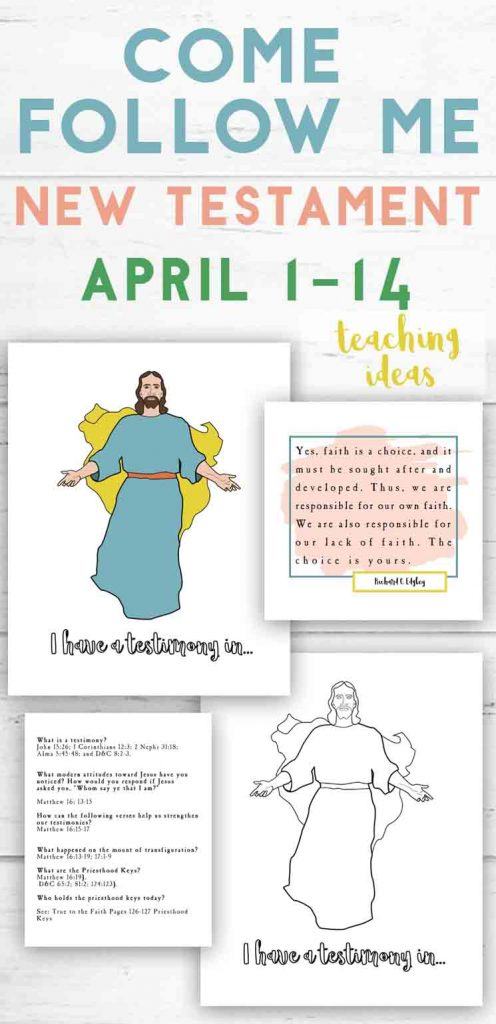 April 1-14 Come Follow Me Free Coloring page and lesson activity ideas for teaching
