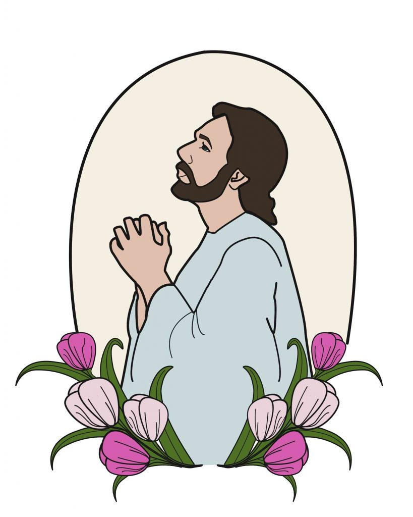 Jesus in Gethsemane Free Coloring page for easter
