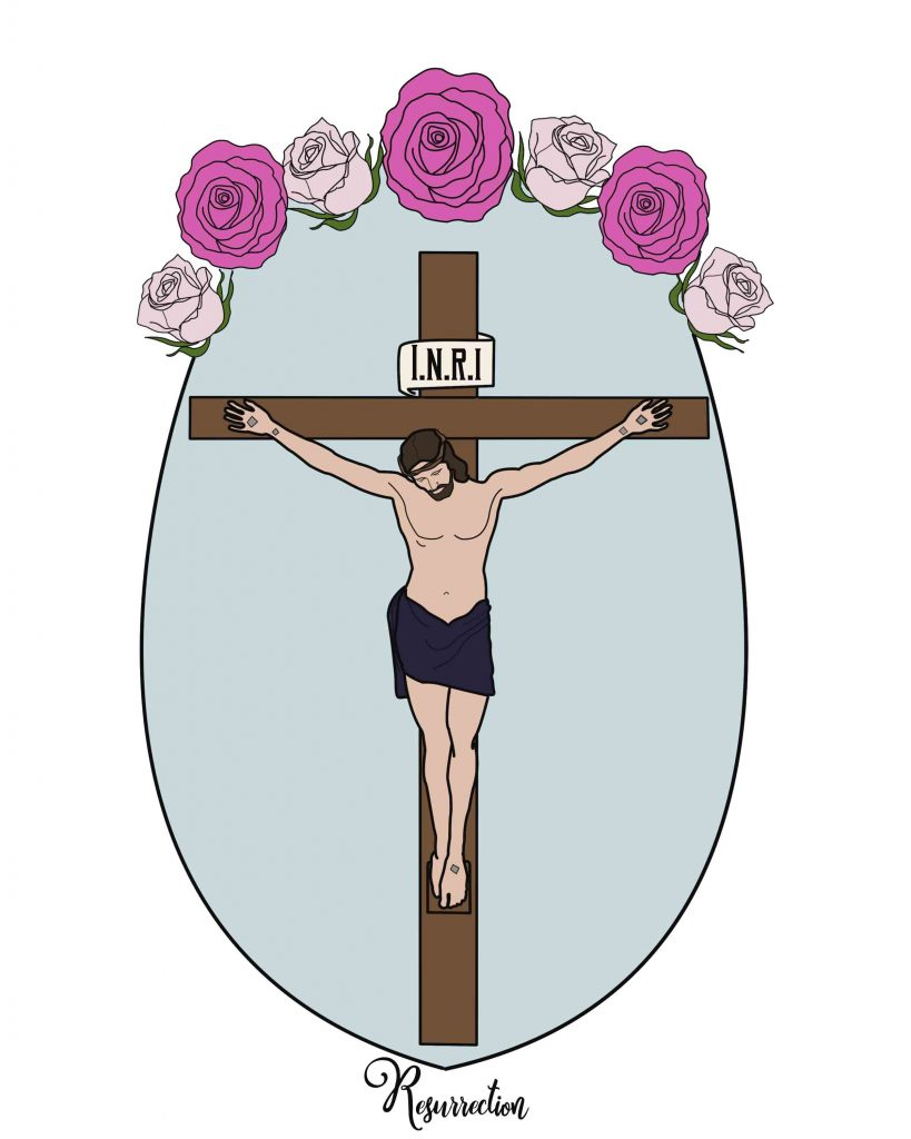 Jesus on the Cross Free coloring page for the easter story