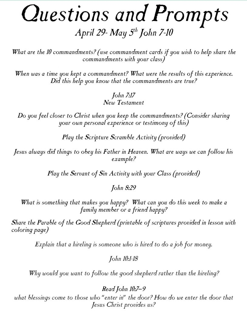 """primary lesson helps Come follow me April 29-May 5th New Testament """"he is the good shepherd"""""""