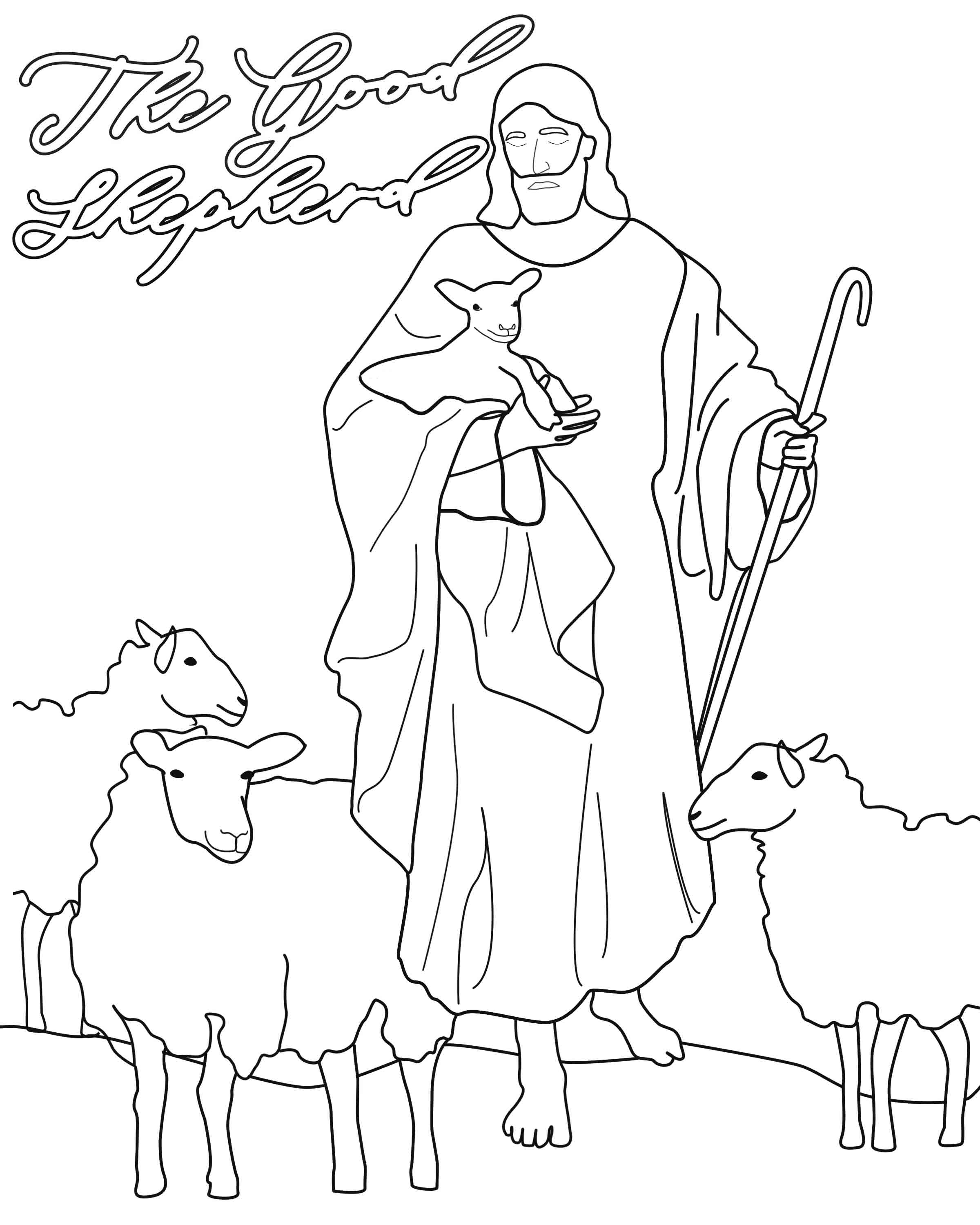 adult good shepherd coloring page the good shepherd coloring page ... | 3000x2400