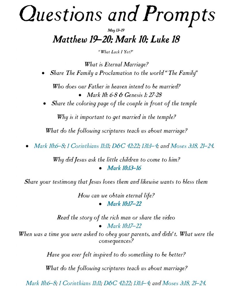 Let the Children Come To Me-Primary Lesson May 13-19 - Ministering