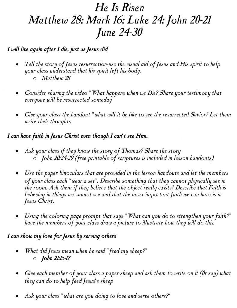 He Is Risen: Matthew 28, Luke 24, John 20-21-June 24-30-Primary lesson helps!