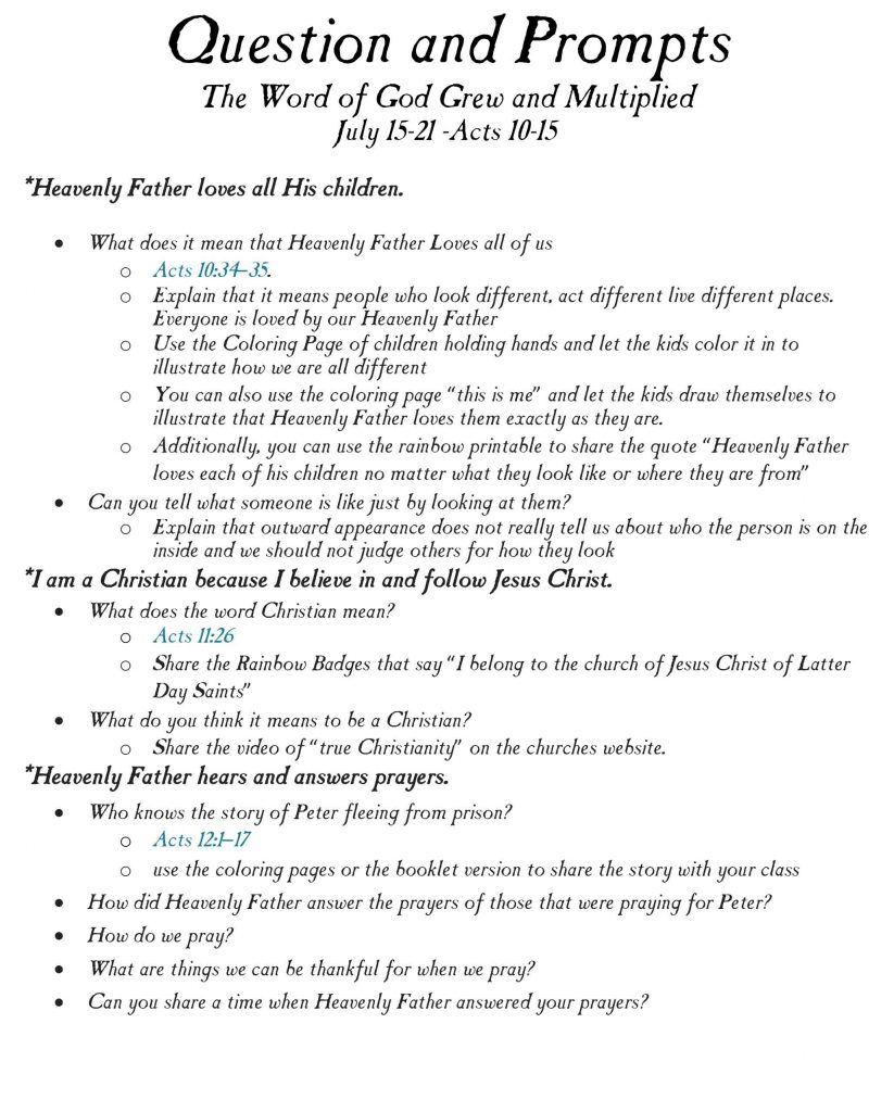 The Word of God Grew and Multiplied-The story of peter in the bible-Come follow me Primary Lesson Helps-July 15-21-Acts 10-15.psd