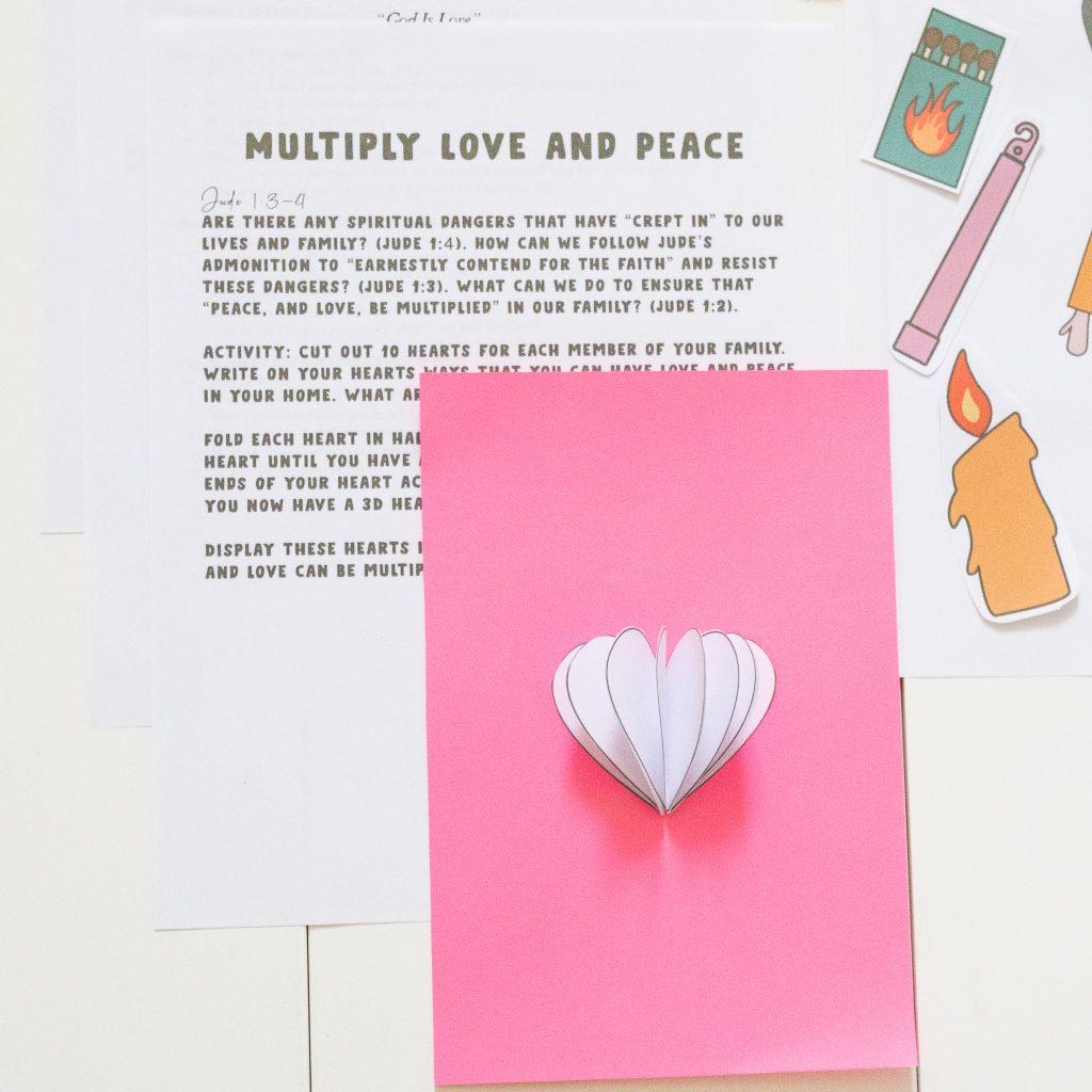 heart craft, heart activity, 3D heart craft for kids-God is love craft