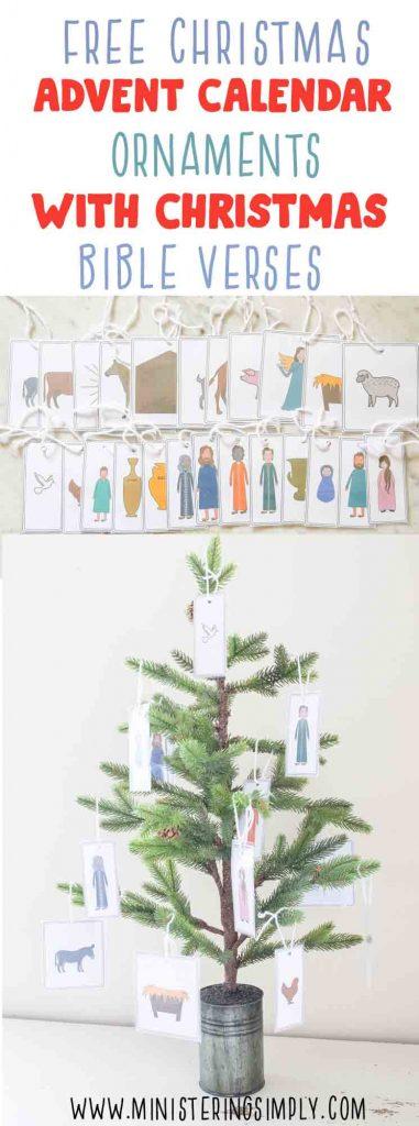 Christmas Bible Verese advent calandar nativity ornaments free printables