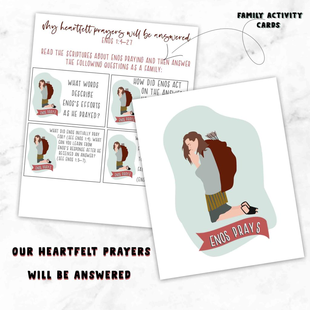 """""""He works in me to do his will"""" Week 13 Come Follow me Book of Mormon Study Lesson helps. March 23-29 Enos and Words of Mormon. These lesson helps include activity ideas and free printable's for Families, Primary and Sunday School."""